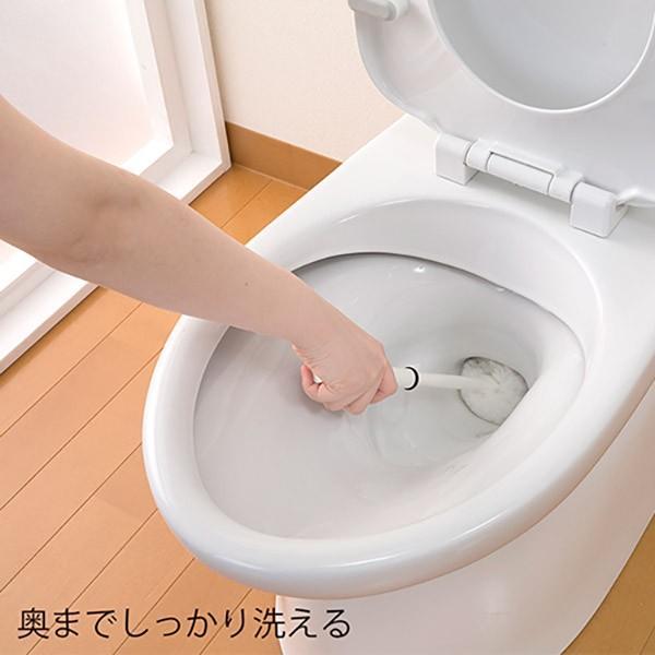 トイレブラシ おしゃれ 人気 清潔 掃除 収納ケース付 傷がつきにくい Pro仕様 サトミツ棒 サンコー やわらか  ホワイト びっくりフレッシュ 日本製 BH-41 sanko-online 03