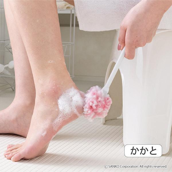 角質ケア ブラシ フット 足裏 柄付き かかと ひび割れ 足元つるつる 日本製 抗菌 ピンク サンコー sanko-online 09