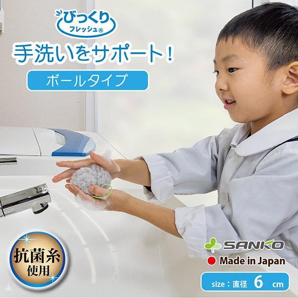 手洗い ブラシ おすすめ 抗菌 おしゃれ 円形 インフルエンザ 風邪対策 子供 日本製 びっくりフレッシュ 帰ったら手洗いボール グレー サンコー sanko-online
