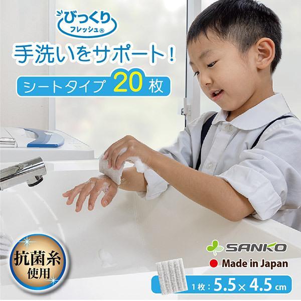 手洗い ブラシ 抗菌 おすすめ 持ち運び おしゃれ 20枚 日本製 インフルエンザ 風邪対策 子供 びっくりフレッシュ グレー サンコー sanko-online