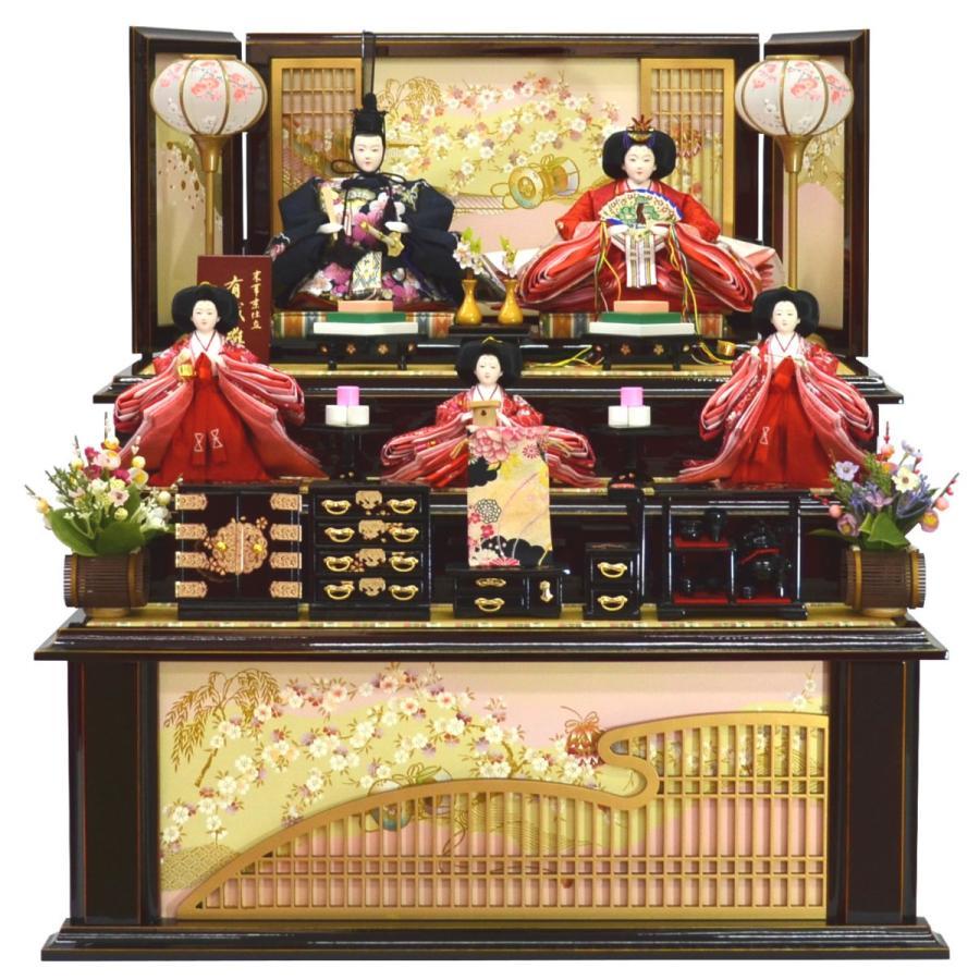 雛人形 五人収納飾り 平安関光作 瑞宝刺繍