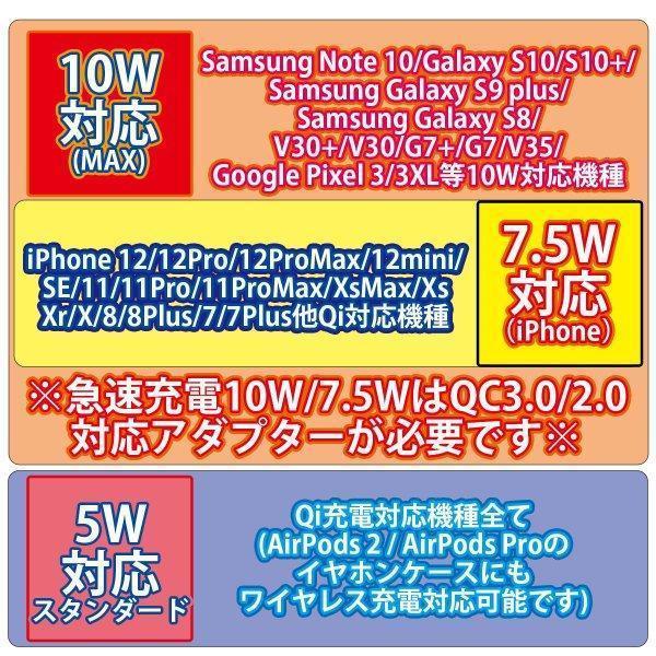 ワイヤレス充電器 最大 10W 急速 iPhone 12 / 12Pro 等QI充電に対応 置くだけ充電 ブラック ホワイト 定番|sanosyoten|05