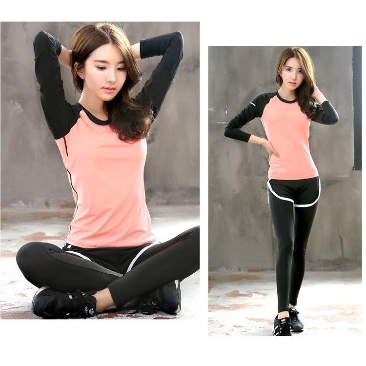 ヨガウェア Tシャツ 長袖 かわいい 長袖トップス  ジョギング ジム エクササイズ 体操 ランニングウェア ダンスウェア 送料無料FJLE-09|sanpi|09