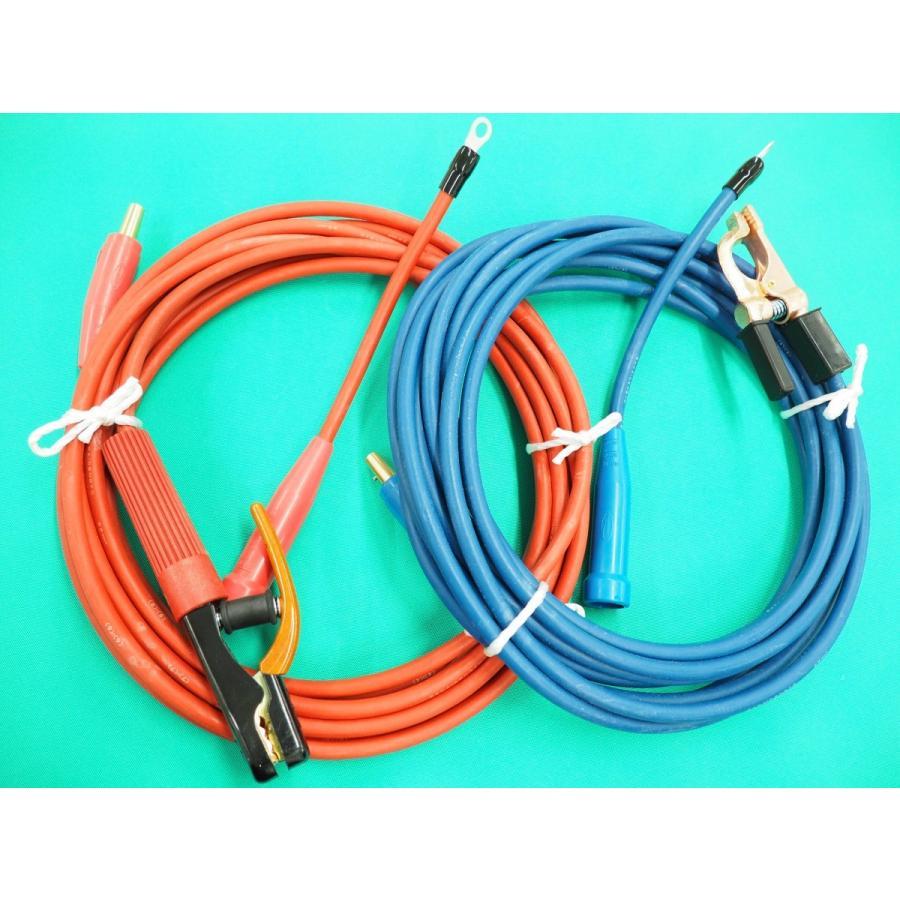 カラー溶接ケーブルセット・メスジョイント付 / 赤色ホルダー15M 青色アース 10M