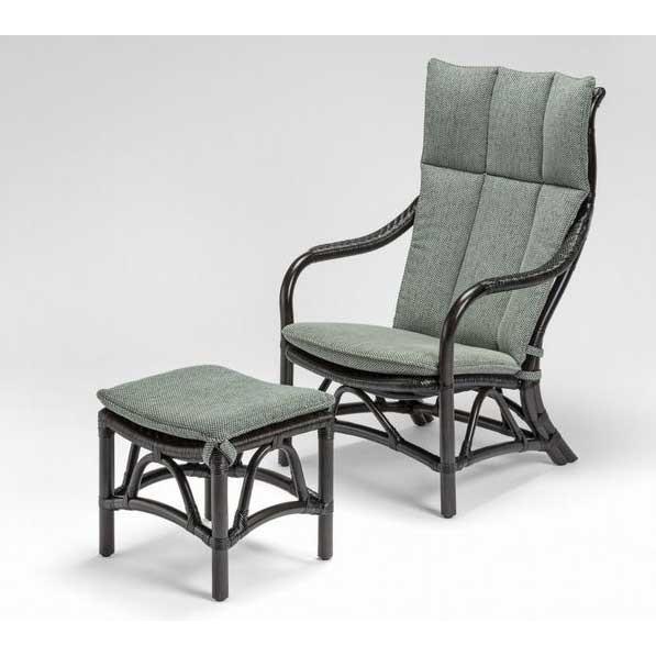 籐椅子 ラタンハイバックチェアー オットマン(足置き)付き 風間 ダークブラウン色