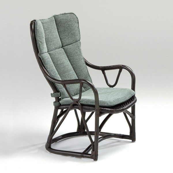 籐肘掛椅子 ラタンハイバックアームチェア ラタンハイバックアームチェア 着脱式布張りクッション仕様 アコルデ シルクブラウン色フレーム アジアンテイスト
