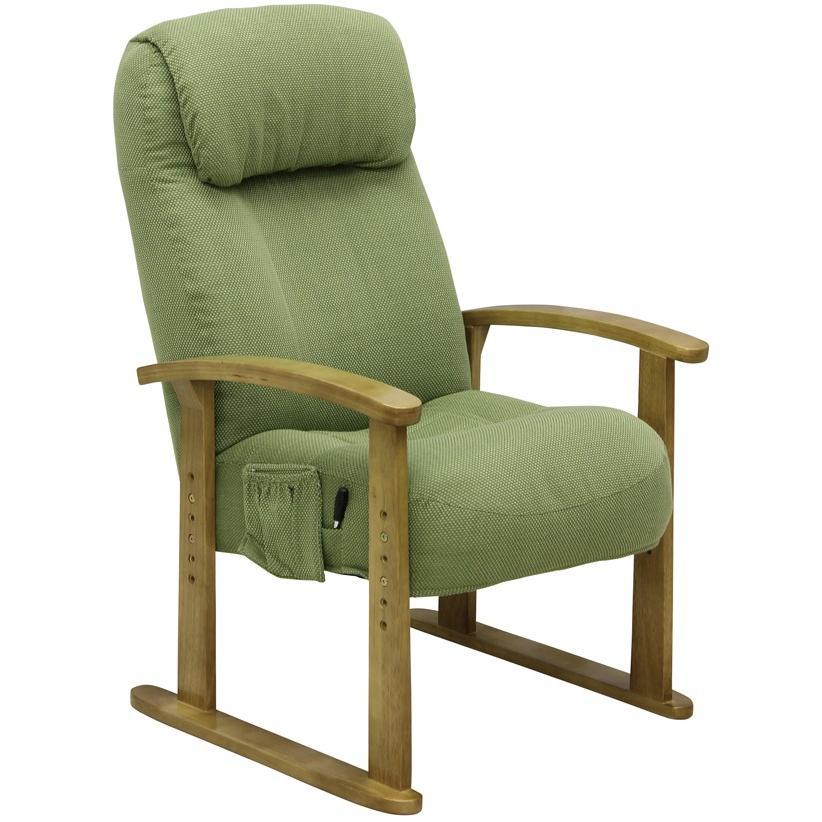 ボリューム高座椅子 肘掛付で立ち座りが楽 VT-200 GN グリーン色