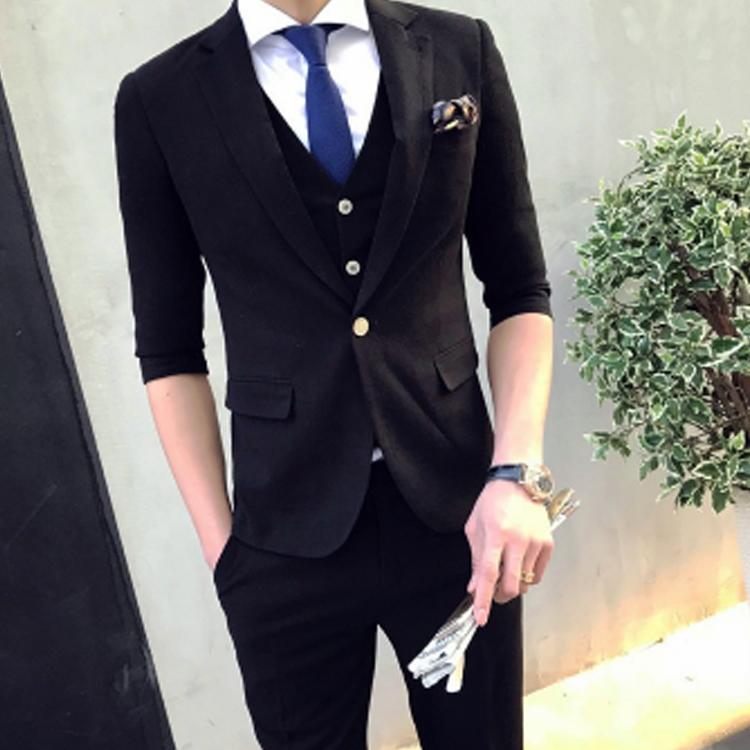 セットアップ メンズ スーツ フォーマル スリーピース スリム ワンボタン 無地 韓国風 テーラード ビジネススーツ スラックス 通勤 結婚式 紳士服