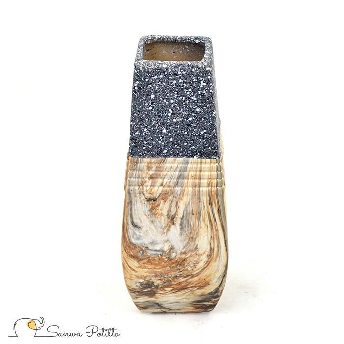 花器 花瓶 フラワーベース 陶器 レトロ モダン ギフト プレゼント 引っ越し祝い 新築祝い 洋風 ストーン 小 F18052 高さ25.5cm