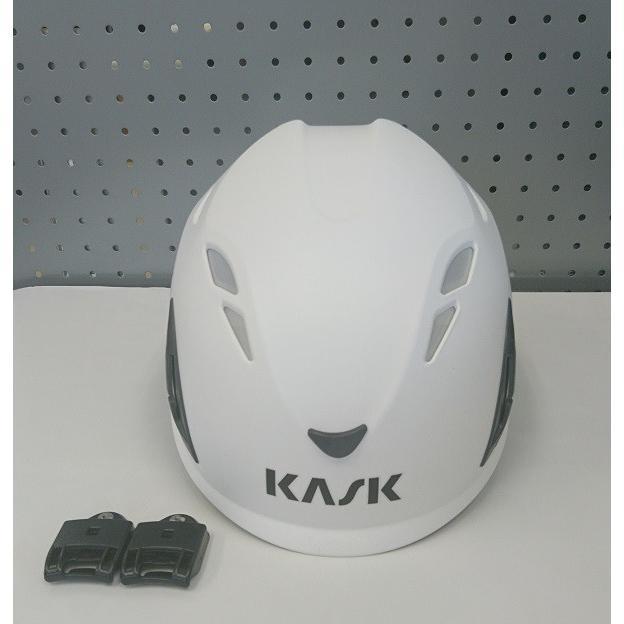 ヘルメット カスク Kask PlasmaAQ  白 あご紐付 イヤマフ取付アダプタ付き