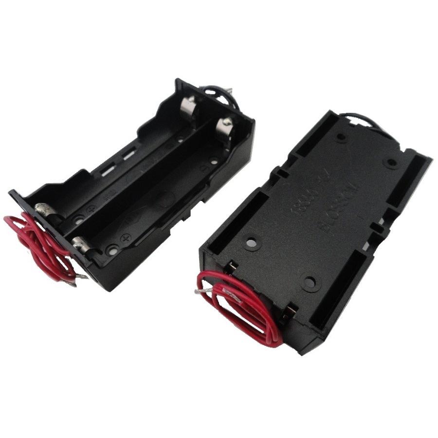 18650 2本 電池ボックス・電池ケース 長さ65mmまで コード付 約40.0×約77.7×厚約20.6mm 2個入 <bat-062> sapporo-boueki