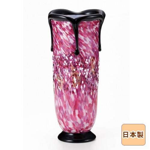 津軽びいどろ工房 花瓶 黒重ね花器 花あかり ガラス 日本製