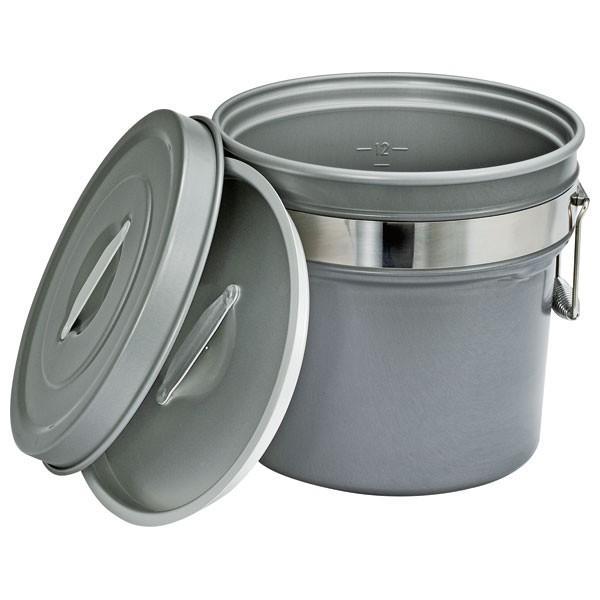 (業務用・食缶)段付二重食缶 245-H6L内外超硬質ハードコートアルマイト仕上(入数:1)
