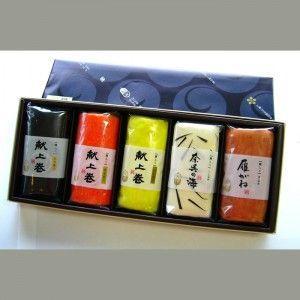 中巻きかまぼこ5本入(赤、昆布、ゆず、しぐれ、焼)|sasayosi