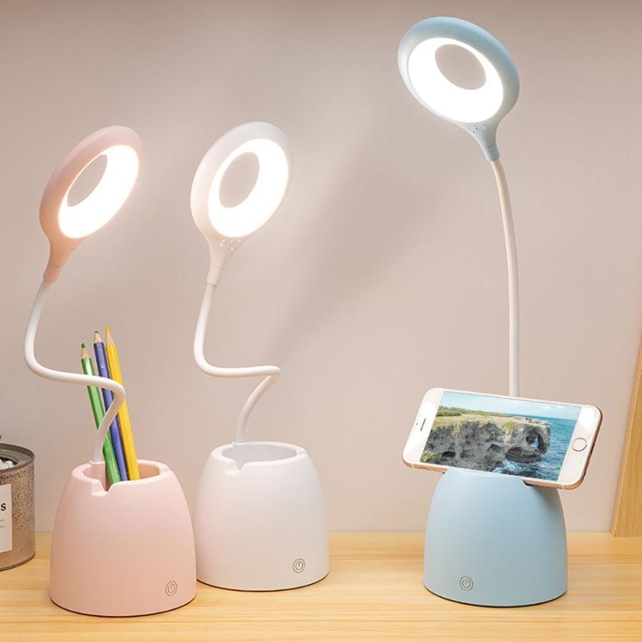 デスクライト LED 自由に曲げられる USB充電 スタンドライト 全3色 大容量 明るさ無段階調整可能 リング状ライト おしゃれ sawagift 19