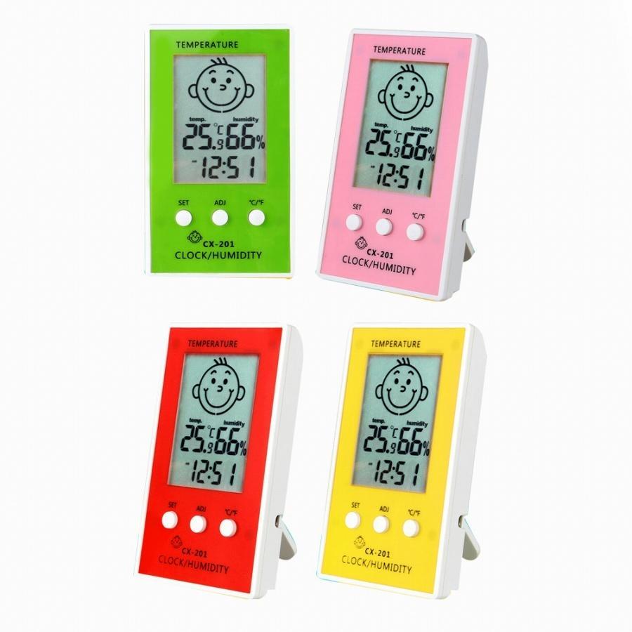 温湿度計 デジタル時計 便利 背面マグネット付 温度 湿度 アラーム付 4色 スタンド インテリア 熱中症対策 時計 置時計 かわいい sawagift 12