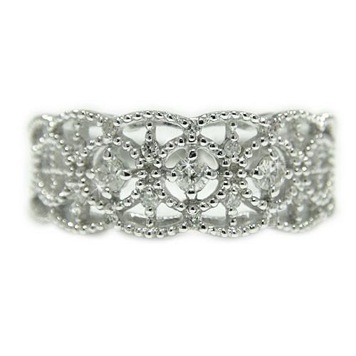 訳あり K18WGホワイトゴールド ダイヤモンド アンティーク ミル打ち 透かし リング 指輪, ワインセラーパリ16区:97fab608 --- airmodconsu.dominiotemporario.com