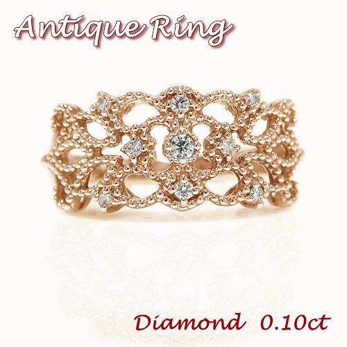最も優遇の K18PGピンクゴールド ダイヤ ダイヤモンド アンティーク 透かし 幅広 ミル打ち リング 指輪, 和柄とアメカジバイカーのJ.Field:f6bdfa25 --- chizeng.com