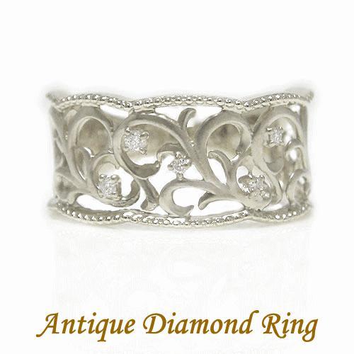 【まとめ買い】 PT900プラチナ ダイヤ ダイヤモンド アンティーク 透かし 幅広 ミル打ち マット仕上げ リング 指輪, URCHIN(アーチン) 16485047