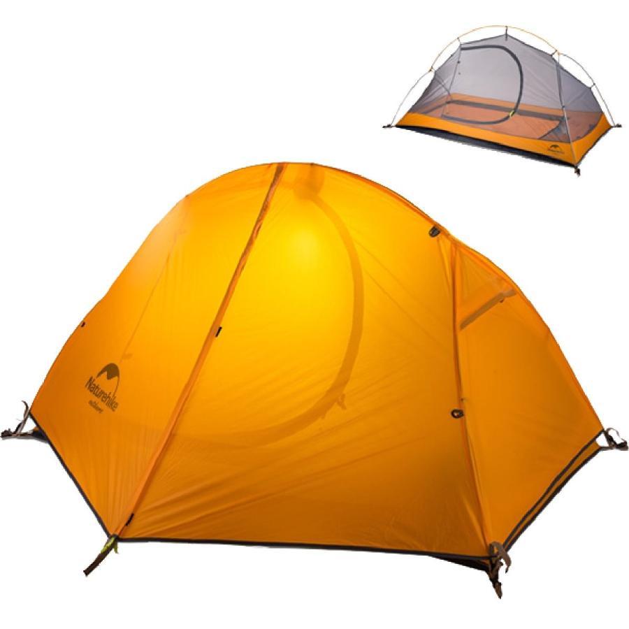 TRIWONDER 二重層 テント 1〜2人用 アウトドア 防災用 キャンプ用品 3シーズン 登山テント 撥水加工 軽量 設営簡単 4色選択可能 (オレンジ - 1人用)