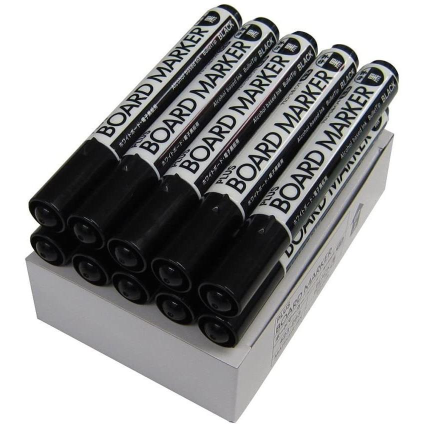 プラス ホワイトボードマーカー 黒 中字 丸芯 ブラック 10本入 423-283 ×10|sazanamisp|07
