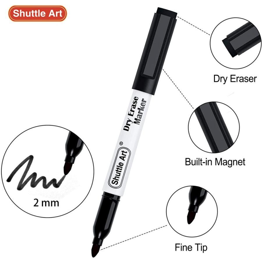 Shuttle Art ホワイトボード マーカー 消せる マーカーペン 黒 15本セット 磁気 マグネット付 イレーサー付 ブラック 耐久|sazanamisp|04