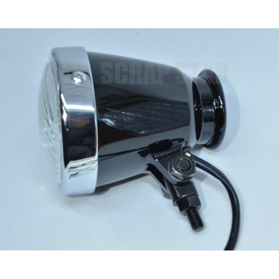 捧呈 汎用 ビンテージスタイル4インチヘッドライト メッキ 限定品 H4 ブラック