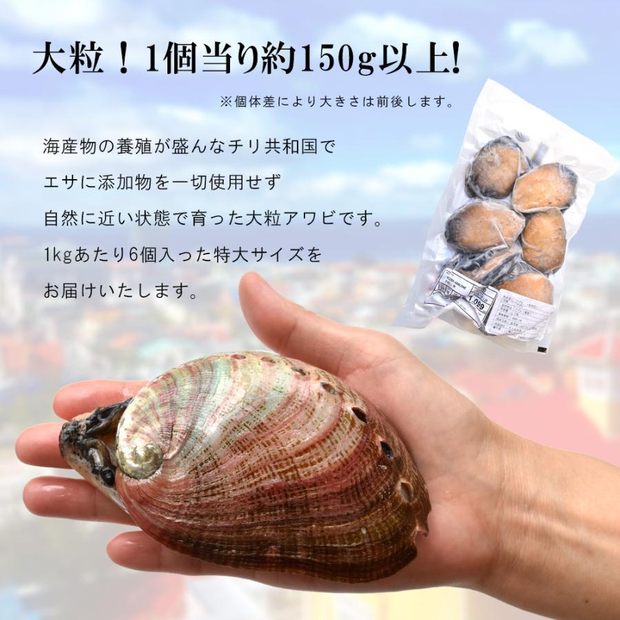 アワビ 刺身用 1kg チリ産 6粒 seafoodhonpo88 03