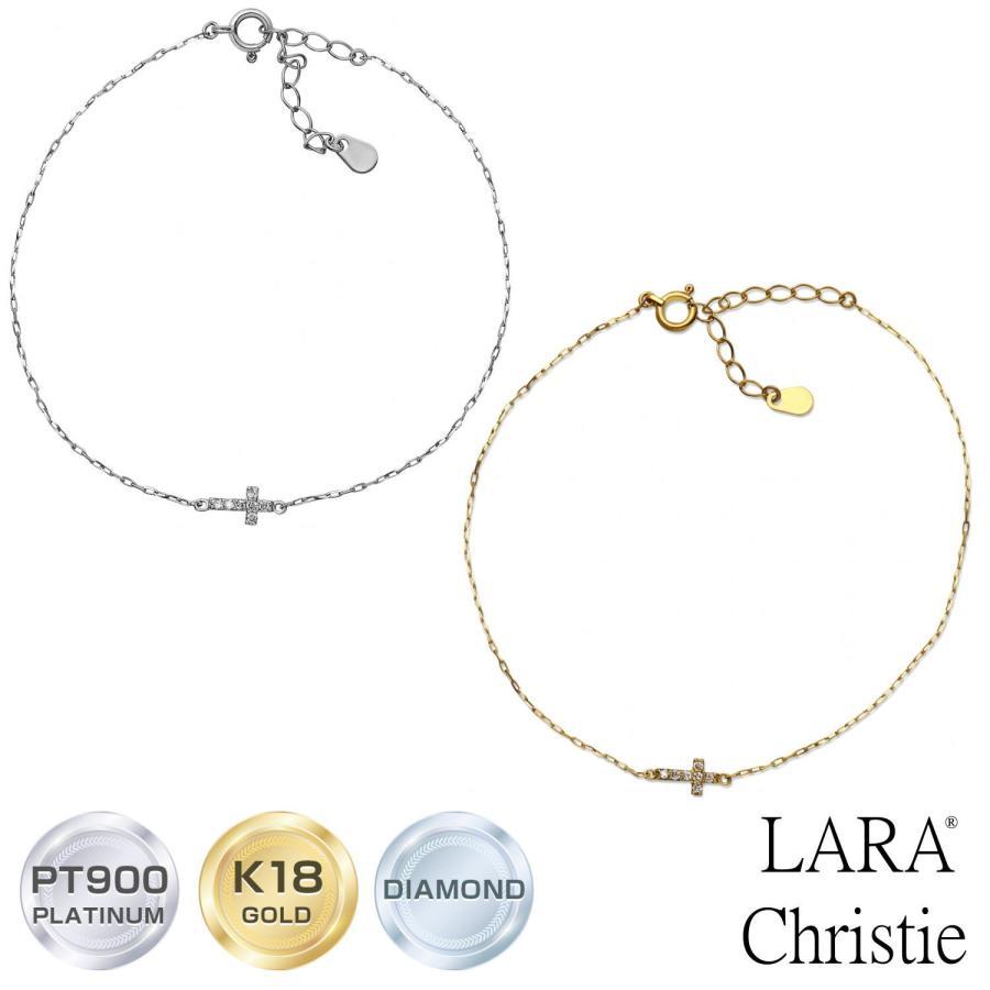 ブレスレット レディース k18 ダイヤモンド クロス 2way 0.05ct PT900 LARA Christie ララクリスティー プレゼント|sears-collection