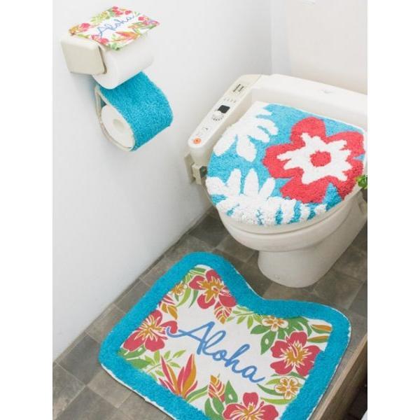 ハワイアントイレマットとカバーセット ALOHAデザイン ボタニカル柄 おしゃれなトイレ敷きマット ふたカバー|seashells-zakka