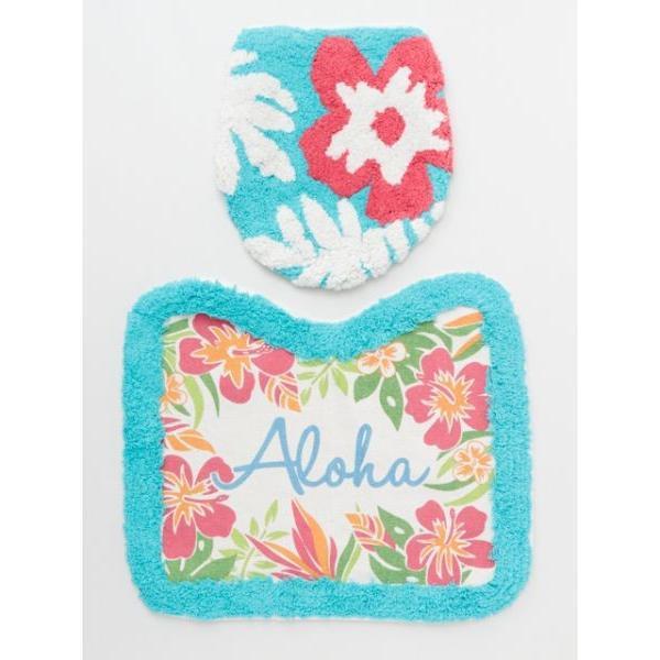 ハワイアントイレマットとカバーセット ALOHAデザイン ボタニカル柄 おしゃれなトイレ敷きマット ふたカバー|seashells-zakka|10