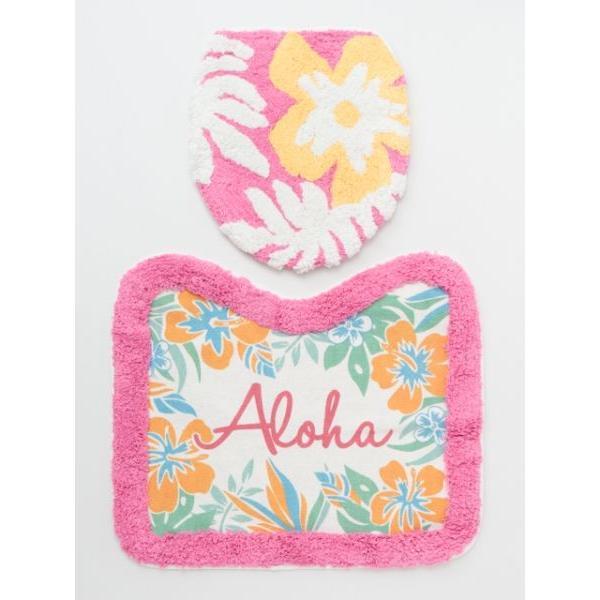 ハワイアントイレマットとカバーセット ALOHAデザイン ボタニカル柄 おしゃれなトイレ敷きマット ふたカバー|seashells-zakka|11