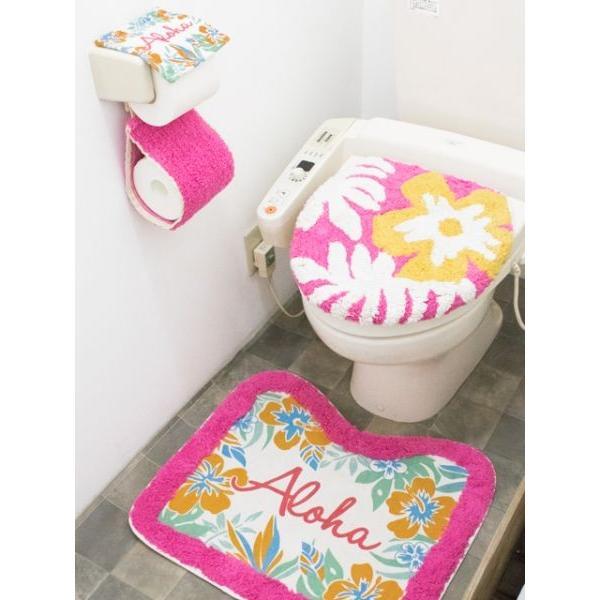 ハワイアントイレマットとカバーセット ALOHAデザイン ボタニカル柄 おしゃれなトイレ敷きマット ふたカバー|seashells-zakka|09