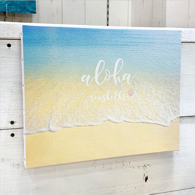 キャンバス地フォト 波打ち際 ビーチブレイク ショアブレイク リゾート 海の景色 大きめ F6 seashells-zakka