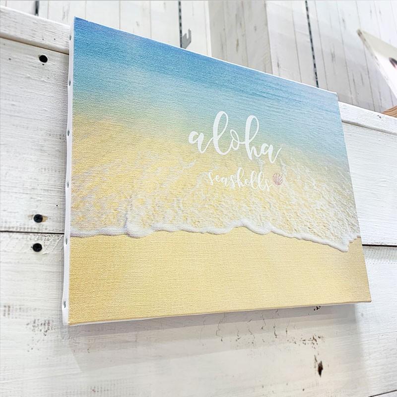 キャンバス地フォト 波打ち際 ビーチブレイク ショアブレイク リゾート 海の景色 大きめ F6 seashells-zakka 02