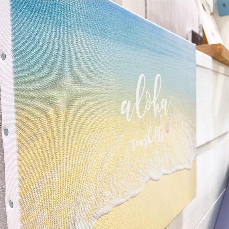 キャンバス地フォト 波打ち際 ビーチブレイク ショアブレイク リゾート 海の景色 大きめ F6 seashells-zakka 03
