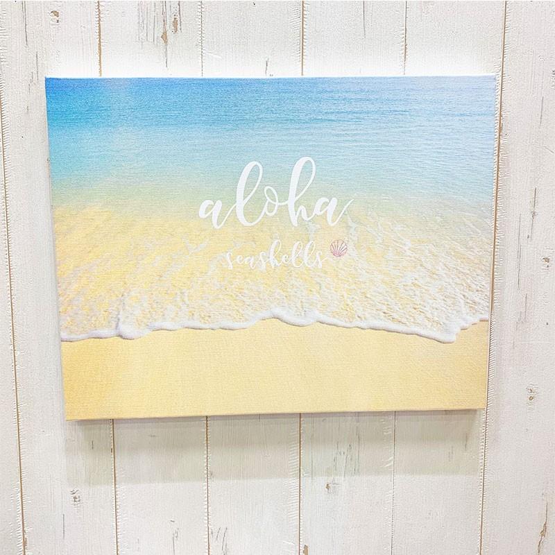 キャンバス地フォト 波打ち際 ビーチブレイク ショアブレイク リゾート 海の景色 大きめ F6 seashells-zakka 04