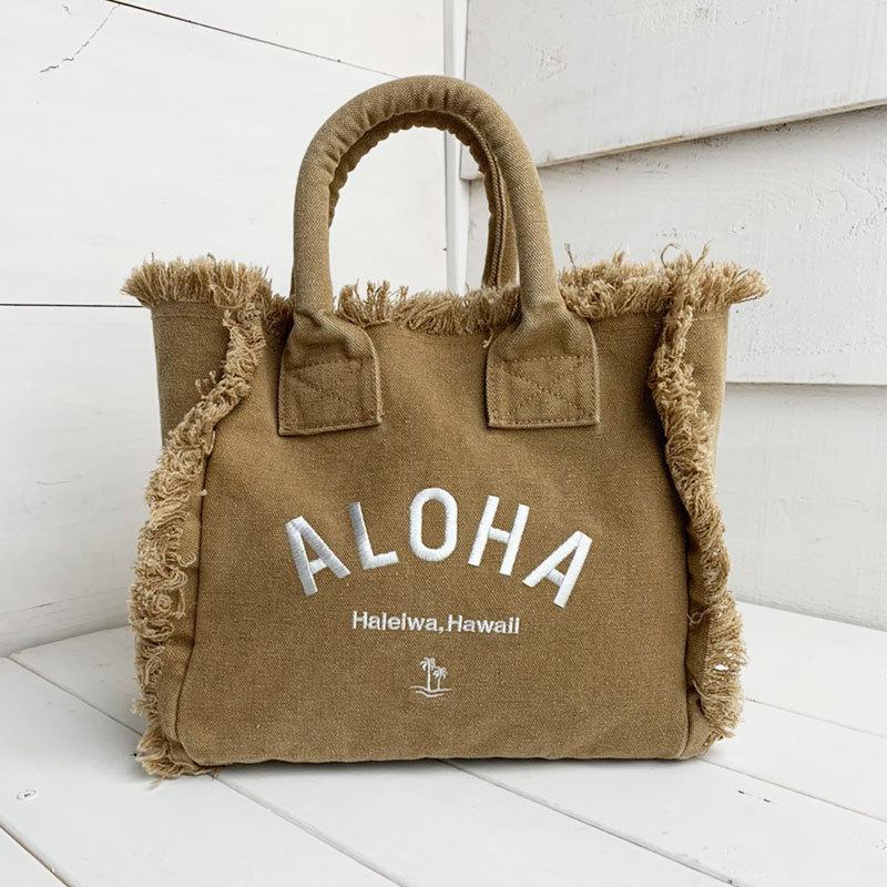 フリンジアロハ刺繍トートバッグ ハワイアンブランドハレイワ 小さめサイズ レディースバッグ 小物バッグ seashells-zakka 16