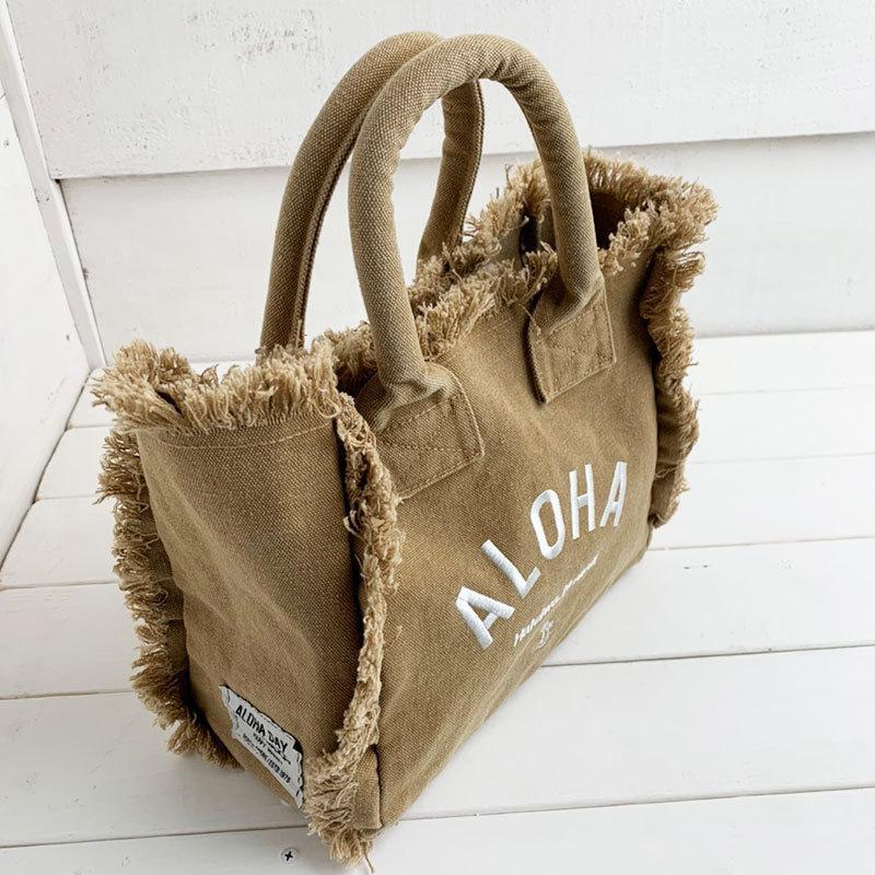フリンジアロハ刺繍トートバッグ ハワイアンブランドハレイワ 小さめサイズ レディースバッグ 小物バッグ seashells-zakka 18