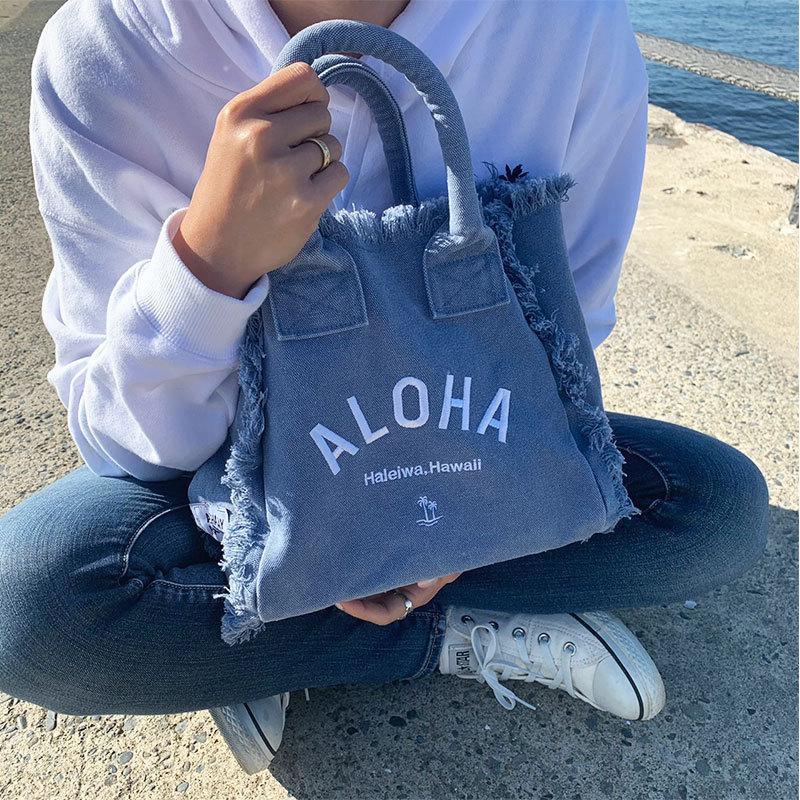 フリンジアロハ刺繍トートバッグ ハワイアンブランドハレイワ 小さめサイズ レディースバッグ 小物バッグ seashells-zakka 03