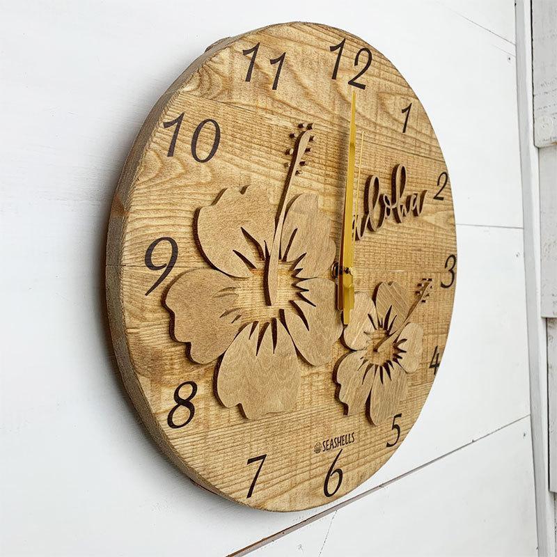 ハイビスカスの壁掛けウッド時計 木製 おしゃれなインテリアクロック ハワイアン 丸 南国植物 見やすい大きめサイズ|seashells-zakka|02