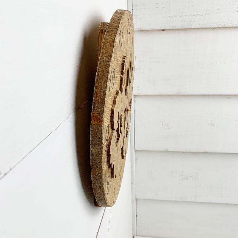 ハイビスカスの壁掛けウッド時計 木製 おしゃれなインテリアクロック ハワイアン 丸 南国植物 見やすい大きめサイズ|seashells-zakka|03