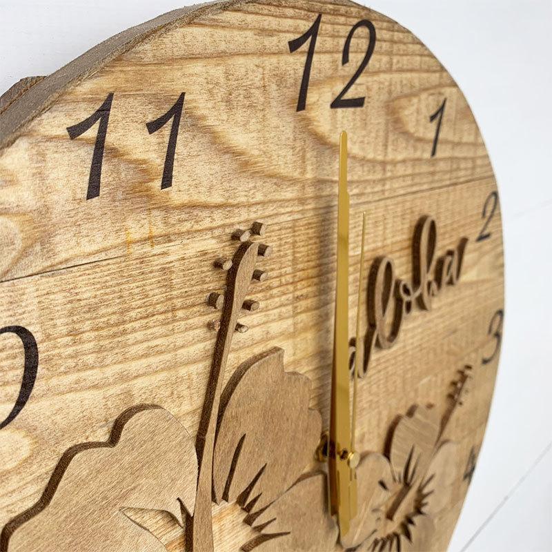 ハイビスカスの壁掛けウッド時計 木製 おしゃれなインテリアクロック ハワイアン 丸 南国植物 見やすい大きめサイズ|seashells-zakka|04