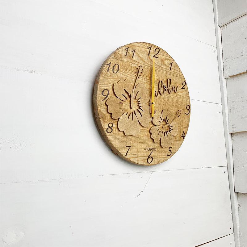 ハイビスカスの壁掛けウッド時計 木製 おしゃれなインテリアクロック ハワイアン 丸 南国植物 見やすい大きめサイズ|seashells-zakka|05