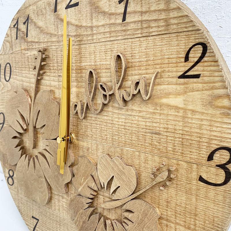 ハイビスカスの壁掛けウッド時計 木製 おしゃれなインテリアクロック ハワイアン 丸 南国植物 見やすい大きめサイズ|seashells-zakka|07