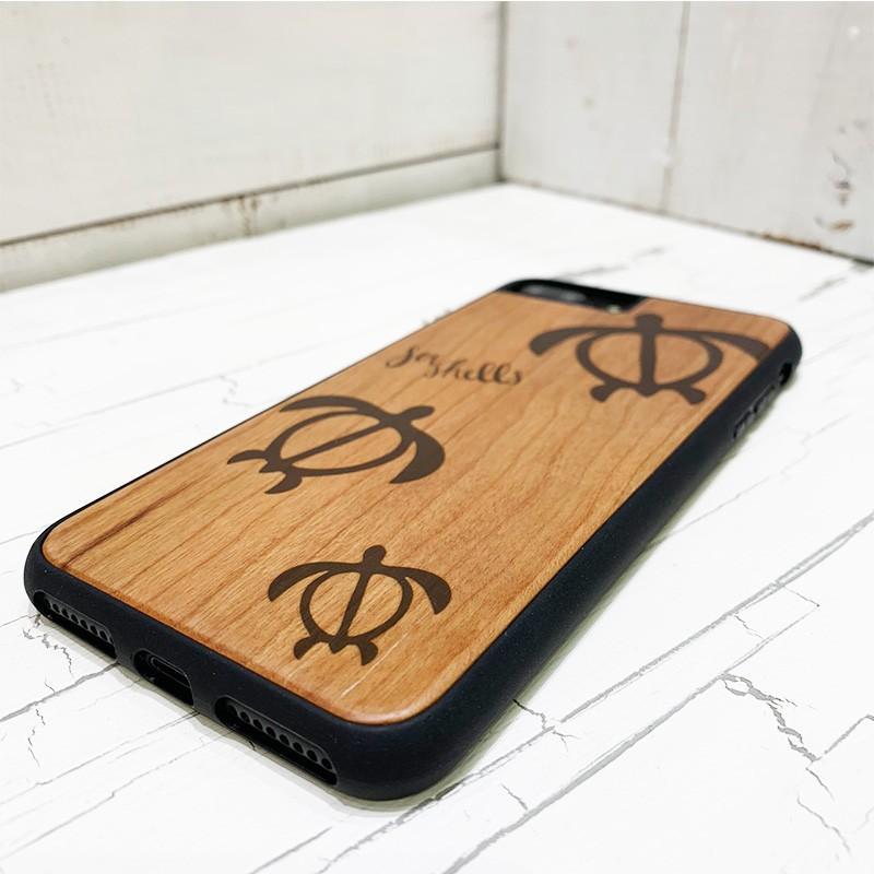iphone用ウッドケース ホヌの親子デザイン ハワイアン柄 衝撃吸収タイプ 木製 カメ|seashells-zakka|02