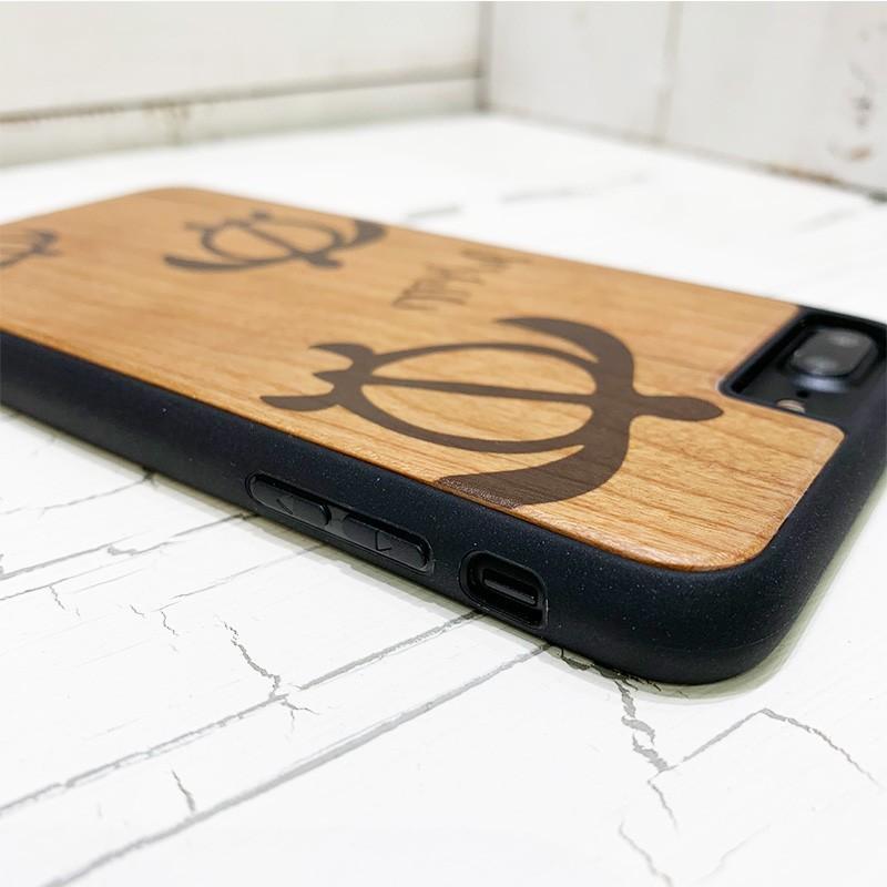 iphone用ウッドケース ホヌの親子デザイン ハワイアン柄 衝撃吸収タイプ 木製 カメ|seashells-zakka|03