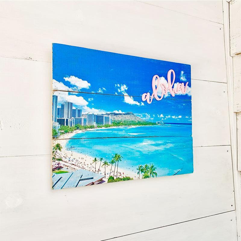 ワイキキビーチ写真プリントボード 物品 新商品 ハワイの風景写真プレート おしゃれな海の写真ウッドボード 壁掛けアート木製パネル