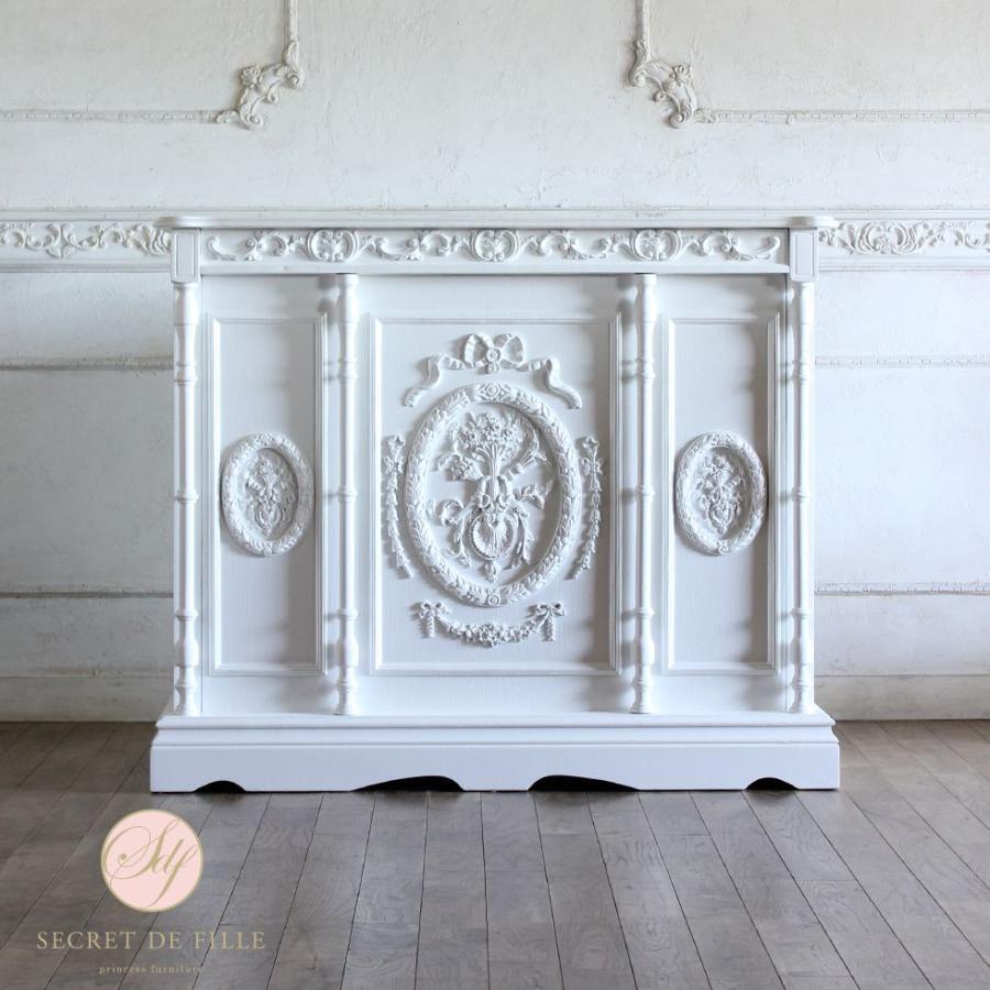 レジカウンター バーテーブル アンティーク 収納 受付カウンター 姫系 ロココ クラシック ホワイト 幅120cm 5050-1.2-18
