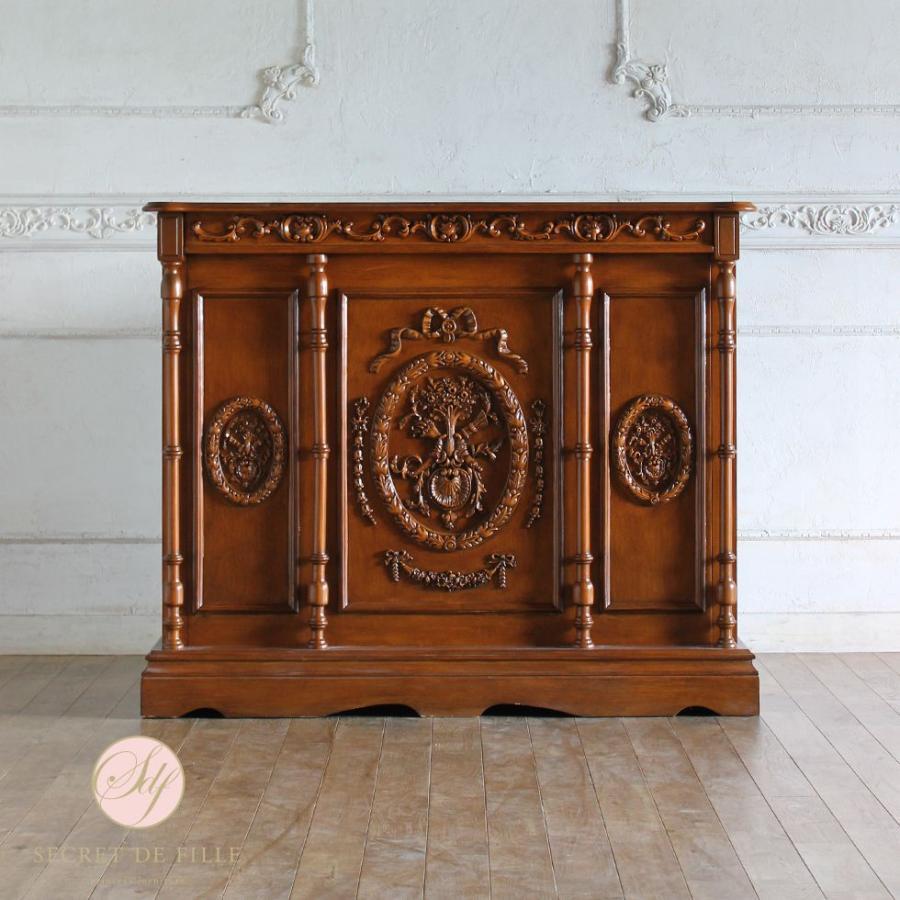 レジカウンター バーテーブル アンティーク 収納 受付カウンター 姫系 ロココ クラシック ライトブラウン 幅120cm 5050-1.2-19
